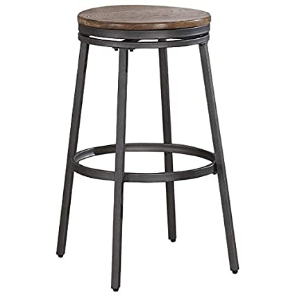 Amazoncom Bowery Hill 25 Backless Counter Stool In Slate Grey And