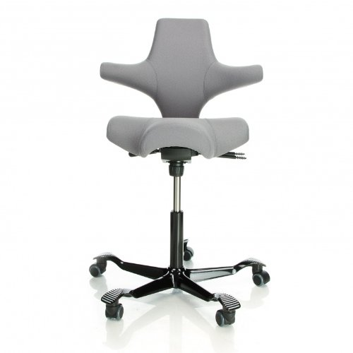 Capisco 8106 Swivel Chair in black Fame fabric, silver base