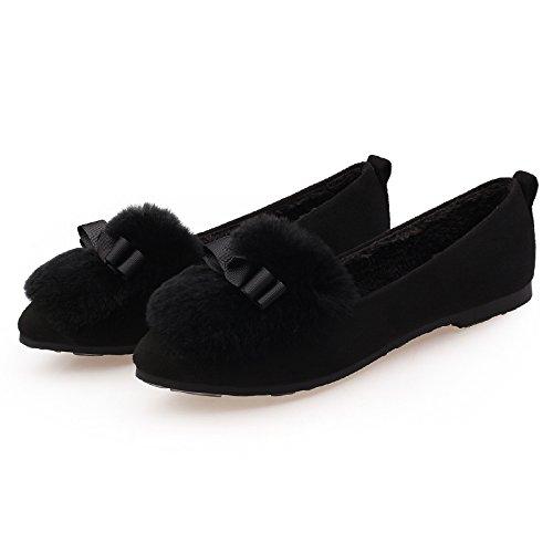 GAOLIM Soja Zapatos Zapatos De Mujer Otoño E Invierno Cálido Invierno Mujer Rollos De Huevo Solo Zapatos Negro