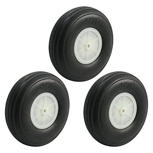 3pcs RC Airplane Spare Parts Nylon Hub PU Spoke Wheel Tire 4.5