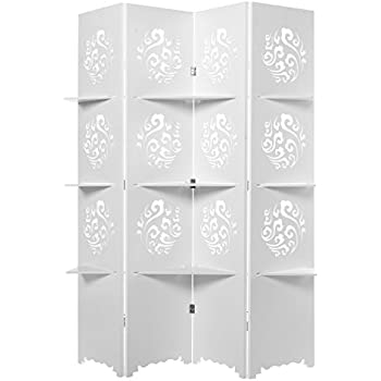 Elegant Cut-Out Design White 4 Panel Folding Screen Room Divider with Storage Display Shelves - MyGift