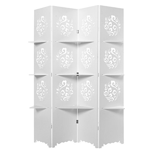 Elegant Cut-Out Design White 4 Panel Folding Screen Room Divider with Storage Display Shelves - MyGift by MyGift