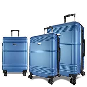 Eaglemate 3pc Luggage Set Suitcase Trolley Carry On Hard Case Soft Lightweight Luggage Set (Blue)