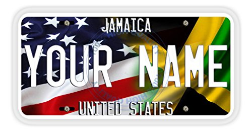 BleuReign(TM) Personalized Mixed USA and Jamaica Flag Car Vehicle License Plate Auto Tag