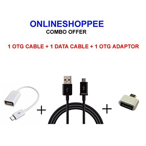 Onlineshoppee Combo Of Micro Usb Otg Cable,Otg Adaptor And Usb Data Cable (Pack Of 3 Pc,Color May Vary)