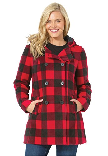 Women's Plus Size Hooded Fleece Pea Coat Classic Red Plaid,16 W