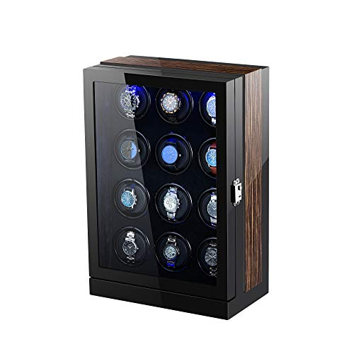 TEEMING Wooden Automatic Watch Winder Storage Box with LCD Touch Screen for 12 Watches from TEEMING