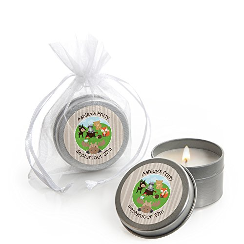 Custom Woodland Creatures - Personalized Candle Tins Baby Shower Favors - Set of 12