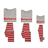 Family Matching Christmas Tree Pajamas Set, Letter Printed Tops Striped Pants Pjs Holiday Sleepwear (Mama, L)