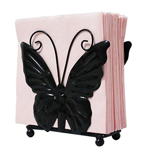 Owlgift Metal Butterfly shaped Napkin Holder, Tabletop Paper Towel Dispenser, w/Freestanding Tissue Stand, Storage, Black