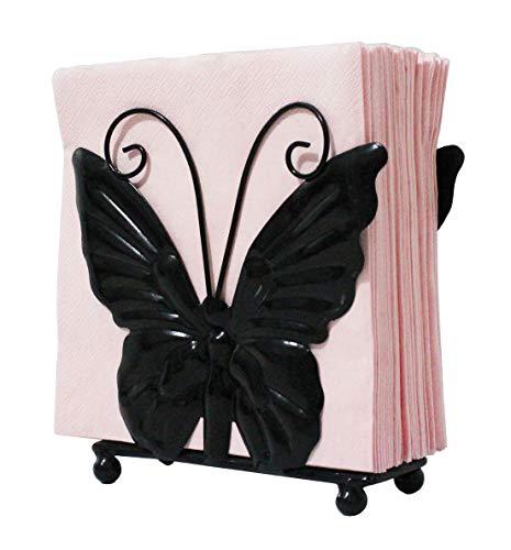 (Owlgift Metal Butterfly shaped Napkin Holder, Tabletop Paper Towel Dispenser, w/Freestanding Tissue Stand, Storage, Black)