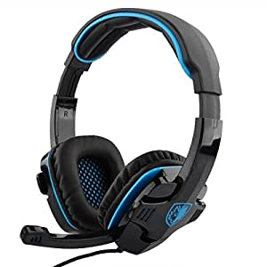PeleusTech® SADES SA-708 Computer Gaming Stereo Headset with Mic & Remoter (SA-708 Black + Blue)