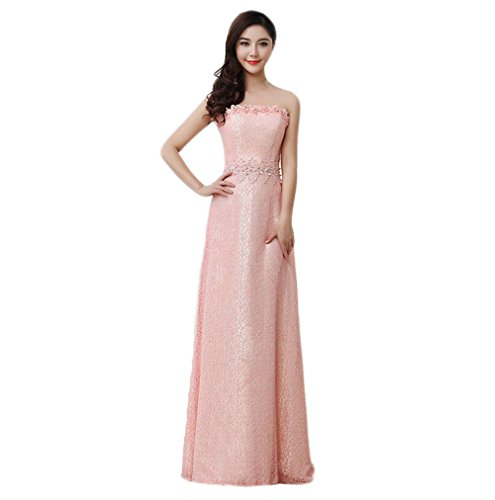 VogueZone009 Womens Strapless Sleeveless Formal Dresses with Lace Sewing Beads, Pink, 16 by VogueZone009