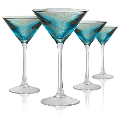 Artland Misty martini Glass, Set of 4, 8 oz, Aqua (Glass Blown Swirled)