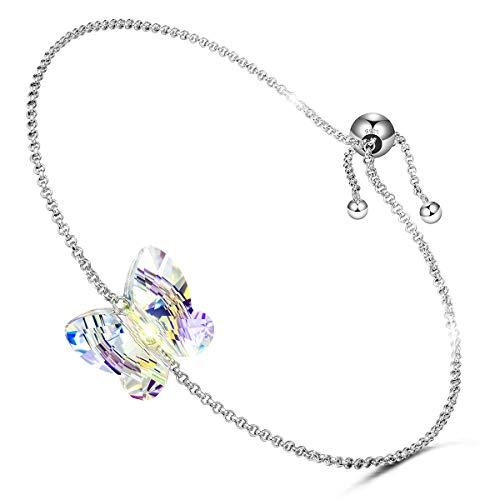 LADY COLOUR Bracelets Gift for Women Girls 925 Sterling Silver Butterfly Bracelet Aurora Swarovski Crystal Fine Jewelry for Women Valentines for Women Girlfriend Her Daughter Birthday Gift
