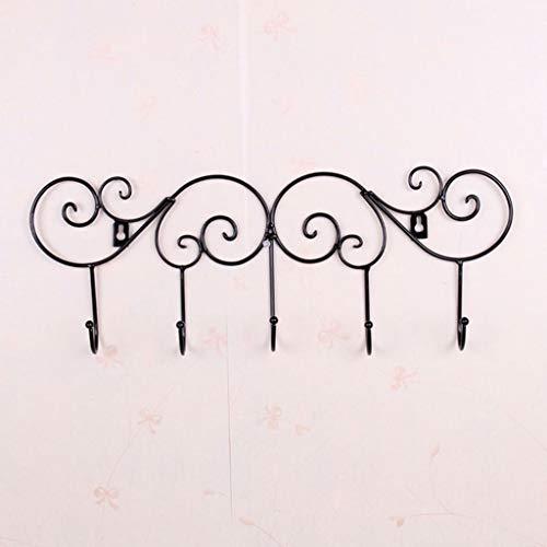 (Agordo Iron Wall Door Hook Rack Clothes Towel Hanger for Kitchen Bathroom-Black)