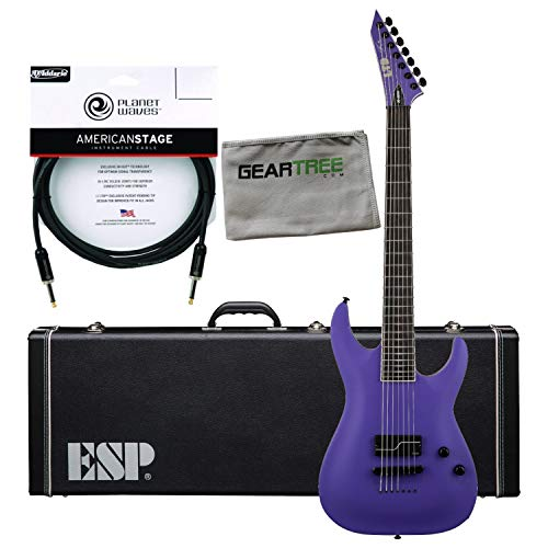 ESP LTD SC607B1H Baritone Electric Guitar (Purple Satin), with Hard Case, Premiu