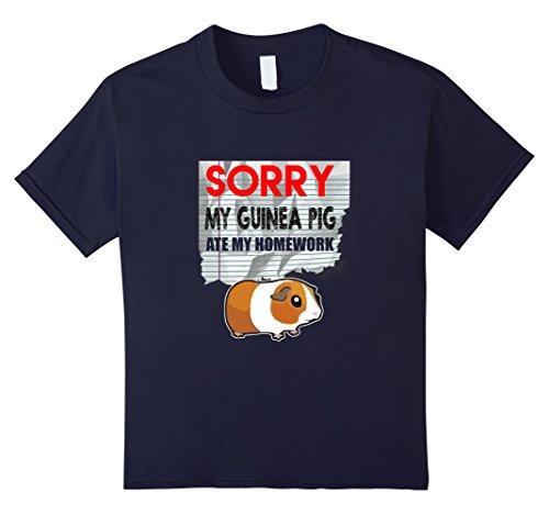 Kids FUNNY GUINEA PIG T-SHIRT ATE HOMEWORK Student Back to School 8 Navy