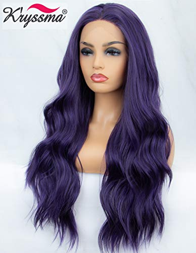 Dark Purple Wig (K'ryssma Purple Lace Front Wig Long Wavy Synthetic Wig with Middle Parting Glueless Long Purple Wigs for Women Heat Resistant 22)