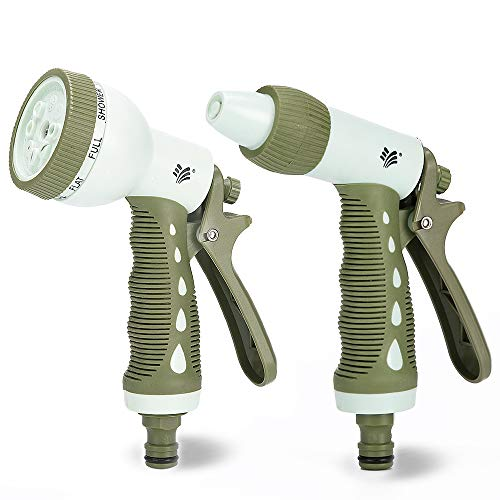 Homes Garden Hose Nozzle Combo, High Pressure Water Gun with 8 Watering Patterns Spray fit for 3/4″ Diameter Garden Hose Connector, Ergonomic Soft TPR Grip for Plant Watering, Car Washing #G-5889-US