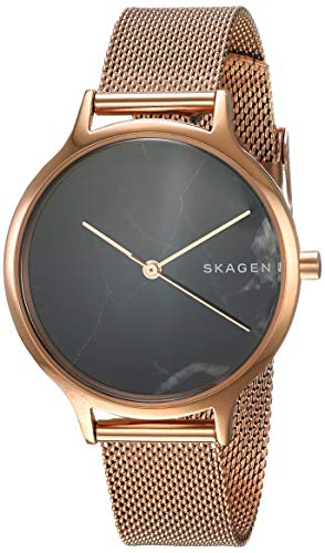 Skagen Women's Anita Analog-Quartz Stainless-Steel-Plated Strap, Rose Gold, 14 Casual Watch (Model: - Black Watch Womens Mesh Skagen