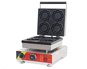 110V/220V Waffle Maker Machine Sunflower Pancakes Baker Oven 4 Pieces (110V USA PLUG)