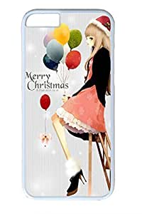 Anime Girl For Christmas Cute Hard Cover For iPhone 6 Plus Case ( 5.5 inch ) PC White Cases