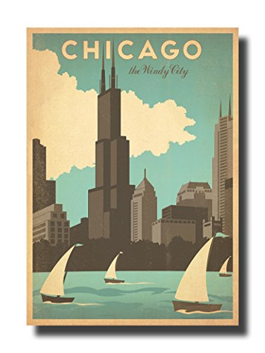 Vintage travel Chicago Art Deco Canvas Wall Art Beautiful Picture Prints living Room Bedroom Home Decor Decorations UnStretched And No Framed 17