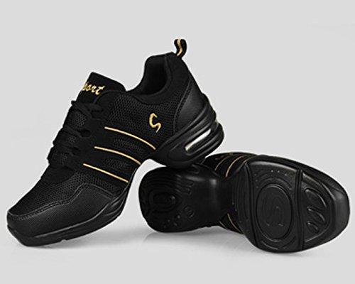 VECJUNIA Ladies Summer Low-Top Middle Heel Mesh Sneakers Modern Softsole Jazz Dance Shoes Black Gold Sngj99ngUt