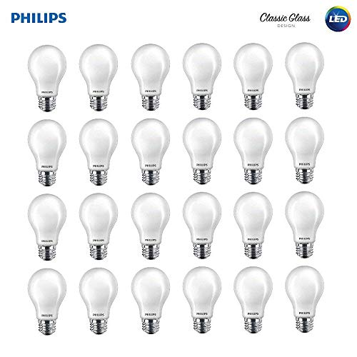 (Philips LED 545921 Classic Glass Non-Dimmable A19 Light Bulb: 800-Lumen, 2700-Kelvin, 7 (60 Watt Equivalent), E26 Base, Soft White, 24-Pack, Piece)