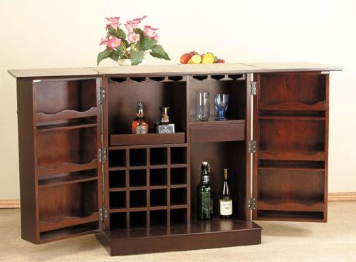 Amazon.com: Home Bar Unit With Wine Storage U0026 Drawers Espresso Finish: Bars  For Home: Kitchen U0026 Dining