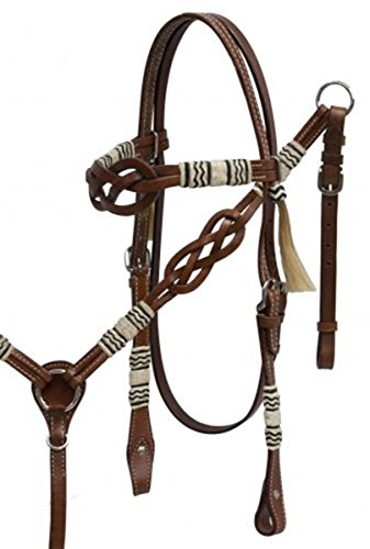 Showman ® Celtic Knot Headstall and Breast Collar Set with Rawhide Braided Accents. ()