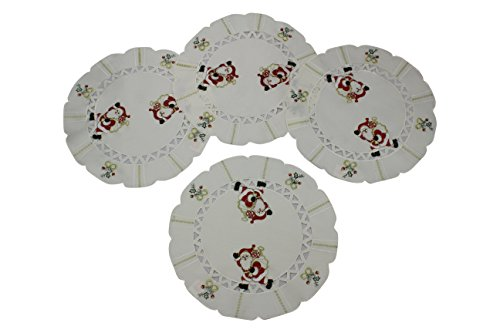 HomeCrate Holiday Christmas Decorative embroidered Santa Claus holly bows 16 Inch Round Place Mat - Set of 4 - In Ivory
