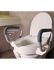 OrtoPrime Elevador de Inodoro con Reposabrazos Abatibles   Asiento WC con Asas Acolchadas para Ancianos  