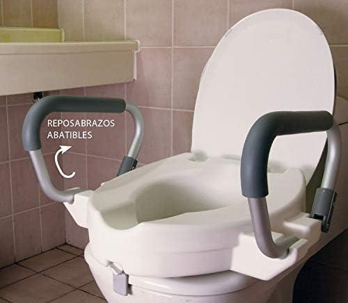 OrtoPrime Elevador WC con Reposabrazos Abatibles | Altura 12 Centímetros | Asiento con Asas Plegables para Adultos | Alzador de Indoro Portátil Con Tapa | Peso soportado 150 Kilogramos