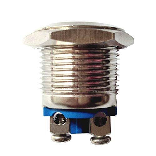 防水 押しボタンスイッチ 16mm ドアベル 1個/5個セット セルフリセット メタル - シルバー-1個