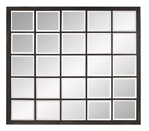 The Display Guys, 38 x 34 inches Black Frame Square Metal Wall Mount Mirror, Decorative Mirror For Living Room, Dinning Room, Wall Decoration