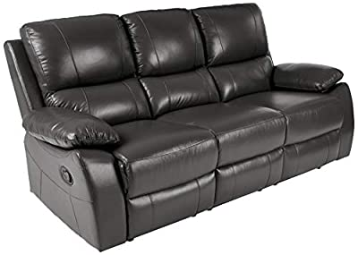 "Homelegance Greeley Manual Reclining Sofa, 79"" W, Gray Genuine Leather"