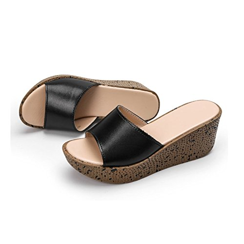 Heel Flatforms Women's Open Beach Slide Back JULY Wedge T Sandals Slippers Holiday Black Sandals Toe pq8v15wS