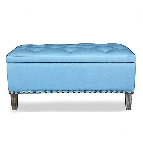 Legacy Home 36-Inch Button Tufted Ottoman Toy Chest in Blue