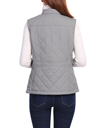 Stand Mock K Padded Vest Pockets Allegra Up Women's Front Zip Quilted Gray Collar ZxX1f