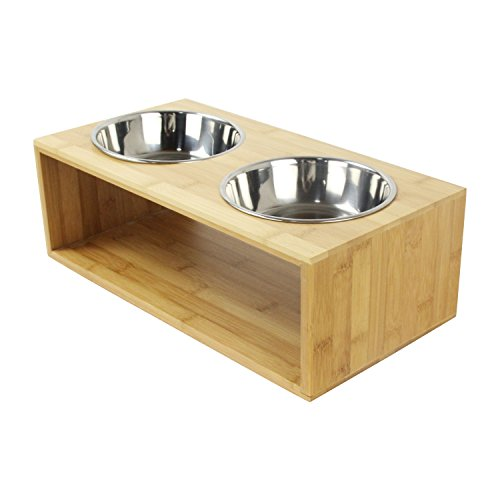 """GemPet Bamboo Elevated Pet Feeder, Raised Pet Food Bowl Stand with 2 Stainless Steel Bowls, for Small Dogs and Cats, 4.7""""Tall"""