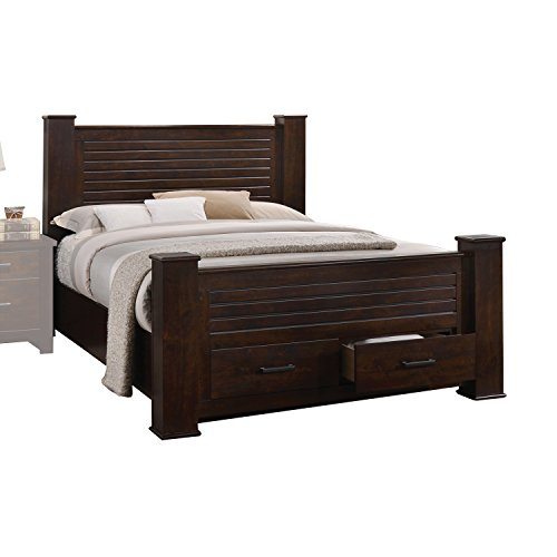 Bedroom Mahogany Poster Bed - ACME Panang Mahogany Eastern King Bed with Storage