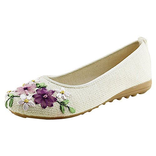 Comfortable Shoes Fabric Student Flat Flower Cotton Slip White Round Flats Plus Woman On Shoes Toe Casual 1wqY0Aq