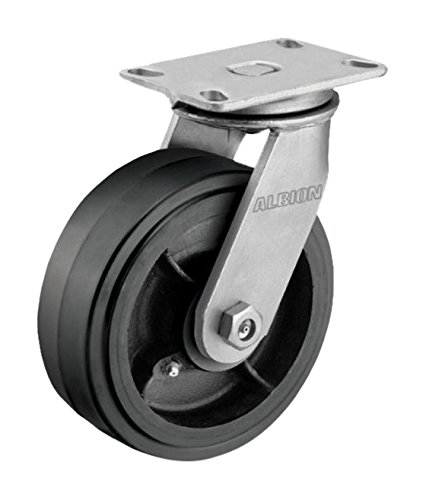 "Albion 81MR10509SLP HD Swivel Caster with Lock, 10"" Mold-On Rubber on Cast Iron Wheel, Poly Cam Brake, Tapered Roller Bearing, 3"" Tread Width, 6-1/4"" L x 4-1/2"" W Plate, 1000 lb. Capacity"