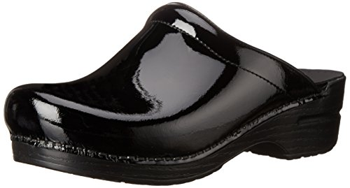 Dansko Women's Sonja Patent Leather Clog,Black,39 EU / 8.5-9 M US (Leather Black Heels Clogs)