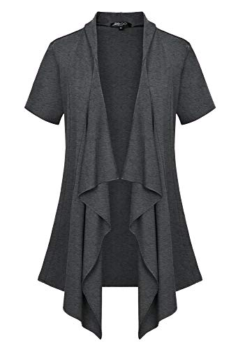 Women's Short Sleeve Open Front Drape Loose Cardigan (2XL, - Front Drape Short