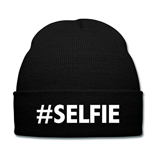 Spreadshirt #Selfie Knit Cap with Cuff Print, black