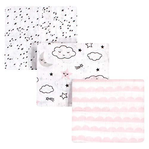Hudson Baby Unisex Baby Cotton Muslin Swaddle Blankets, Dreamer 3-Pack, One Size