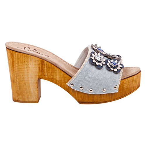 Lalù Tanta, Zuecos para Mujer Turchese (Jeans)